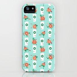 Coffee lovers mint floral bouquet gift idea for sbucks fan java pattern kitchen food iPhone Case