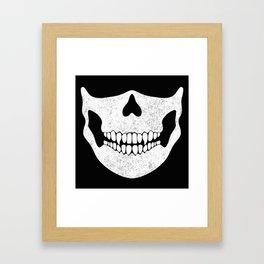 Skull Face Black and White Framed Art Print