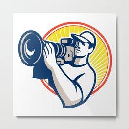 Cameraman Film Crew HD Video Camera Metal Print