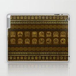 Maya Calendar Glyphs pattern Gold on Brown Laptop & iPad Skin