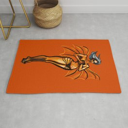Demon Girl With Wings And Sunglasses Rug