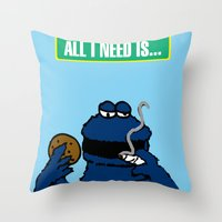 cookie monster Throw Pillows featuring Cookie Monster by M.REYES