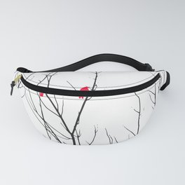 Artistic Bright Red Birds on Tree Branches Fanny Pack