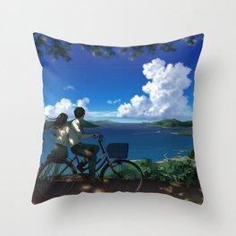 Romantic Couple Driving Bike Enjoying Wonderful Oceanside View Cartoon Scenery Ultra High Resolution Throw Pillow