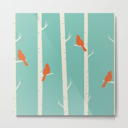 Birds in Winter Trees Metal Print