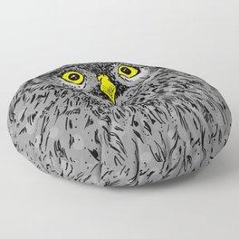 Fluffy baby owl staring eyes Floor Pillow
