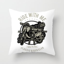 Ride With Me Classic Scooter Rider Club Throw Pillow