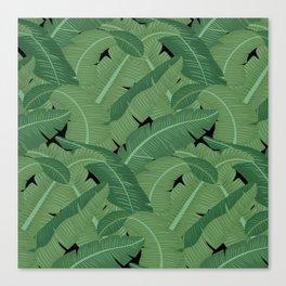 Banana Leaves - Bg Black Canvas Print
