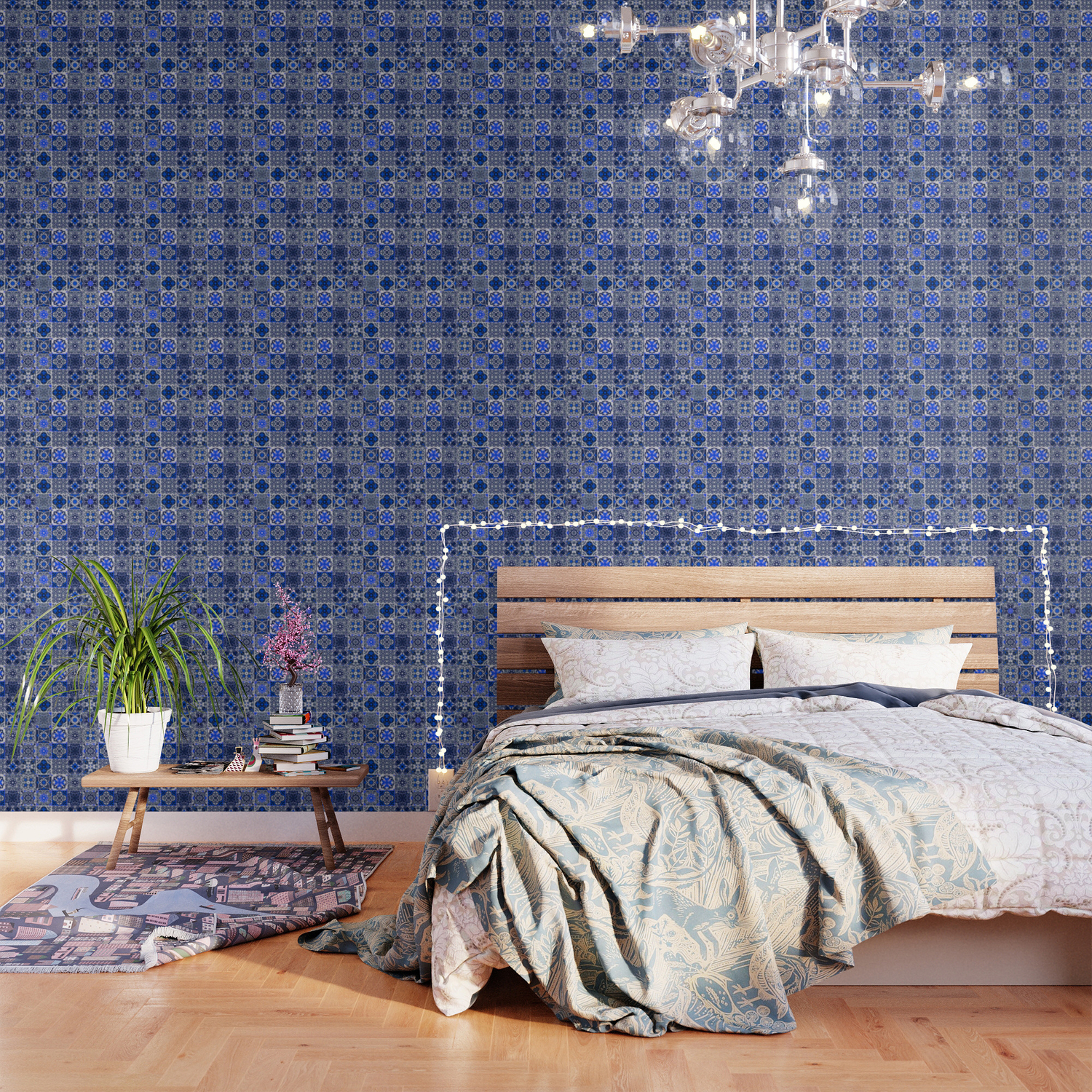 A34 Blue Traditional Floral Moroccan Tiles Wallpaper By