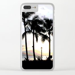 Three Palms in Paradise Clear iPhone Case