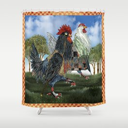 The Cluckfosters Step Out Shower Curtain