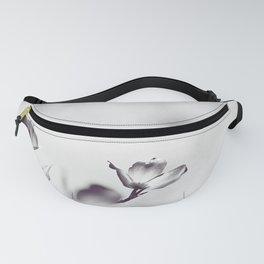 Black and White Floral Dogwood Photography, Grey Spring Flower Tree Branches, Gray Neutral Nature Fanny Pack