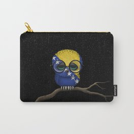 Baby Owl with Glasses and Bosnian Flag Carry-All Pouch