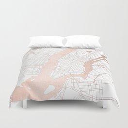 New York City White on Rosegold Street Map Duvet Cover