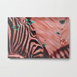 Zebras and Butterflies Metal Print