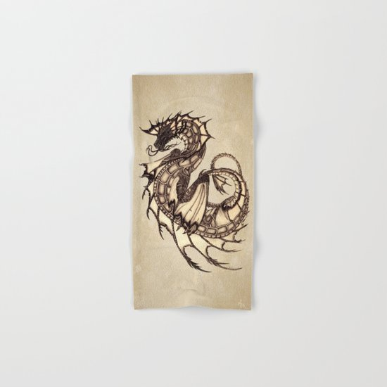 """Tsunami"" by Amber Marine ~ Sea Dragon ~ Graphite & Charcoal Illustration, (c) 2005 Hand & Bath Towel"