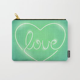 Love Neon Sign Green Carry-All Pouch