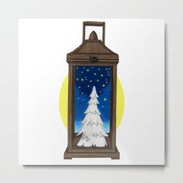 Wooden Christmas Lantern Metal Print