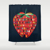 strawberry Shower Curtains featuring Strawberry by Picomodi
