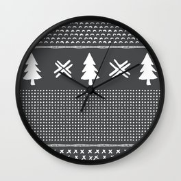 Evergreen in Gray Wall Clock