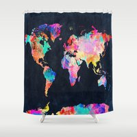 map Shower Curtains featuring World map by Bekim ART