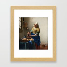 The Milkmaid Painting By Johannes Vermeer Framed Art Print