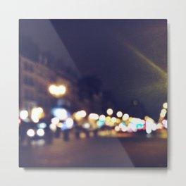 Paris Night Bokeh Metal Print