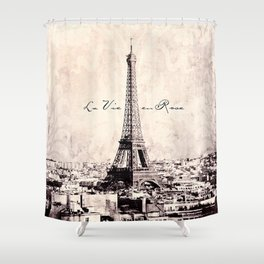 la Vie en Rose vintage Shower Curtain