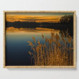 Nature Landscape Photography - Sunset at Reedy Point Pond Serving Tray