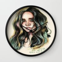 west coast Wall Clocks featuring   West Coast  by vooce & kat