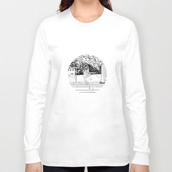 waiting for the train Long Sleeve T-shirt