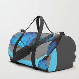 NEON BLUE BUTTERFLIES  & CHARCOAL GREY PATTERN Duffle Bag