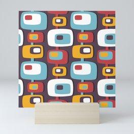 Mid century abstract geometric shapes hand drawn illustration pattern Mini Art Print