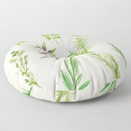 Watercolor Herbs Floor Pillow