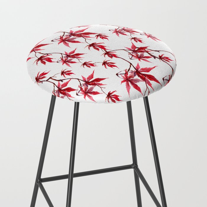 Watercolor Botanical Red Japanese Maple Leaves on Solid White Background Bar Stool