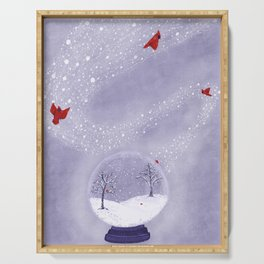 Cardinals in Snow Globe Serving Tray