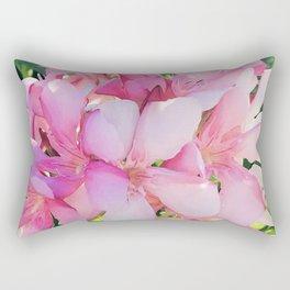 Pastel Pink Garden Flowers Covered in Sunlight & Shadows Rectangular Pillow