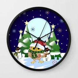 Santa Owl and his Snowman friend Wall Clock