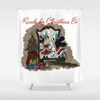 minnie Shower Curtains featuring Minnie Mouses by carotoki art and love