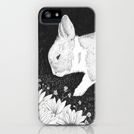 bunny in black and white iPhone Case