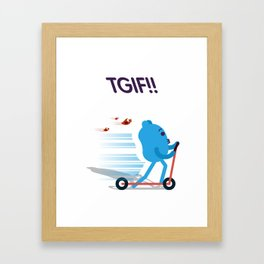 Blueman - TGIF! Framed Art Print