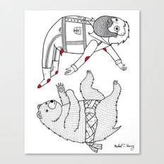 On the bear's uncontrollable urge to toss his master in the air Canvas Print