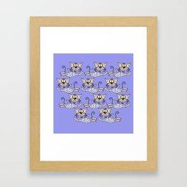 Flying cats in blue Framed Art Print
