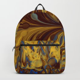 Electric-Blue, Brown, and Gold Abstract Backpack