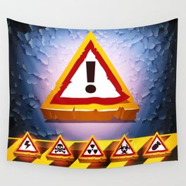 Grunge Background With Warning Signs Wall Tapestry