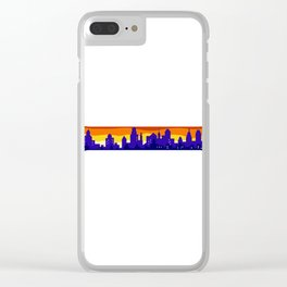 Wrench With Cityscape Buildings Silhouette Retro Clear iPhone Case