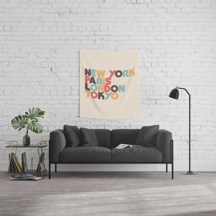 Retro New York Paris London Tokyo Typography Wandbehang
