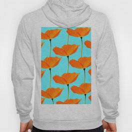 Poppies On A Turquoise Background #decor #society6 #buyart Hoody