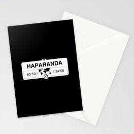 Haparanda Norrbotten with World Map GPS Coordinates Stationery Cards