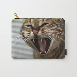 Tabby Cat Yawn Artistic Portrait Carry-All Pouch